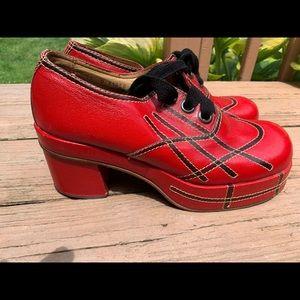 Vintage Ferradini Leather Platform Disco Shoes